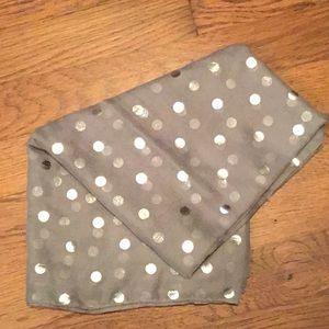 Grey and silver polka dot scarf